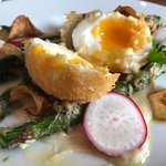 The most delicious tempura asparagus and egg
