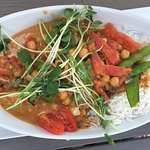 Awesome vegan chickpea curry. Awesome service. Awesome place in the village.