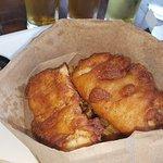 Gahan House Nova Centre: Fish cakes and Mango Milkshake beer.