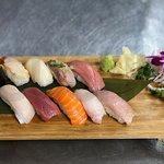 Omakase 10 Piece including Hokkaido Uni, Bluefin Maguro, Chutoro & Otoro