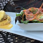 Single crab cake Benny with side salad