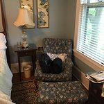 Chair and ottoman in Chestnut Hill room.