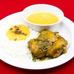 Stewed Chicken with Dhal and White Rice