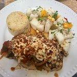Chicken Pablano with rice and jicama salad