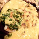 Shrimp and cauliflower polenta
