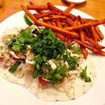 Fish tacos with sweet fries