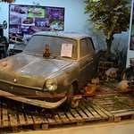 Diorama with a 1961 BMW 700, showing the condition many of the cars are in when found