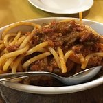 Pici ragu and funghi