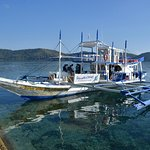 Our boat on the beautiful clear water at Culion