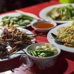 having dinner at the street market in Myanmar!