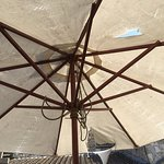 This is a typical umbrella used at the boat inn, which reflects the venue.