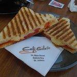 Maltese sausage, tomato & cheese breakfast panini