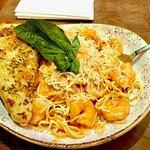 Shrimp Linguini with bland tomato basil sauce