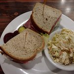 Corned Beef Sandwich on Rye Bread with Cole Slaw