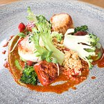 Roasted Scallops, Chorizo, Broccoli and Red Pepper