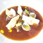 Smoked Ceddar Ravioli, Onion Broth and Beef Cheek