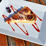 """Homemade Fig Tart with Strawberry Sauce...""  #esperiarestaurant"