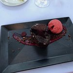 Chocolate Beet cake with Sorbet for desert