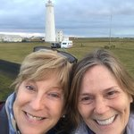 Friends in front of the nearby lighthouse (walking distance from the hotel)