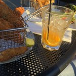 Fried pickles and drinks