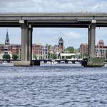 New Bern framed by the bridge