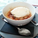 Salted butterscotch panna cotta with bourbon whipped cream