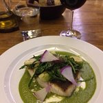 Seared fish with green mole. Delicious.
