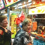 On a food tour with guests from Australia at Chinatown Hawker Centre