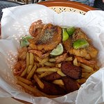 Red Snapper , shrimp and delicious plantains.