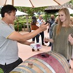 """An assistant Gainey Winery Manager pouring samples with a Cask """"Thief"""""""
