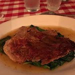 Veal Saltimbocca on spinach