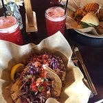 fish tacos (2) and strawberry lemonade hit the spot