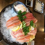 Jumbo Sashimi, this is served on a bed of ice with a selection of very fresh cuts of Salmon, Tun
