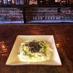 "Creamy rice ""grits"" melted & crispy leeks with mushrooms & parm"