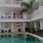 Rooms overlook pool and garden