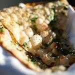 Garlic and Coriander Naan, hot and fresh!