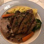 Set menu dishes. I pepper steak and salata di mare.