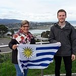 Penny from Uruguay with Ryan from the i-SITE at Mt Victoria Lookout, Wellington