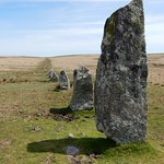 Standing stones at Down Tor stone row.