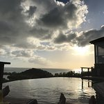 infinity pool at Carmichael's, just before sunset