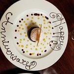 Chocolate torte: with Orange Coffee Caramel Sauce, Sea Salt Tuille and Blood Orange Sorbet