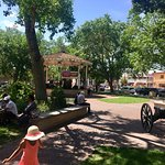 Beautiful town square where families gather on Sunday