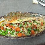 Níam Restaurant: Lubina con parmentier de patata y verduritas salteadas