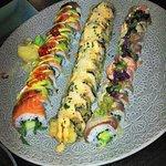 Salmon & Fig Roll, Salmon & Fried Parmesan Roll, Salmon & Tuna Green Chilli Roll