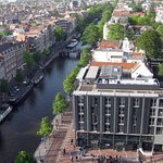 View of the Secret Annex from the nearby Westerkerk bell tower, which Anne refers to in her diar