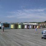the beach shacks on the pier