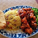 General Tso Chicken, Pork Fried Rice and Egg Roll for 7.95