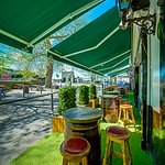 Outdoor covered seating & entertainment areas
