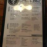 Craft Bar food menu