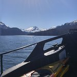 Ferrying our kayaks and camping gear across the Kachemak Bay